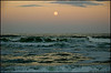 Full moon over the Atlantic Ocean,  as seen from Ocean Park in Melbourne Beach, Florida.