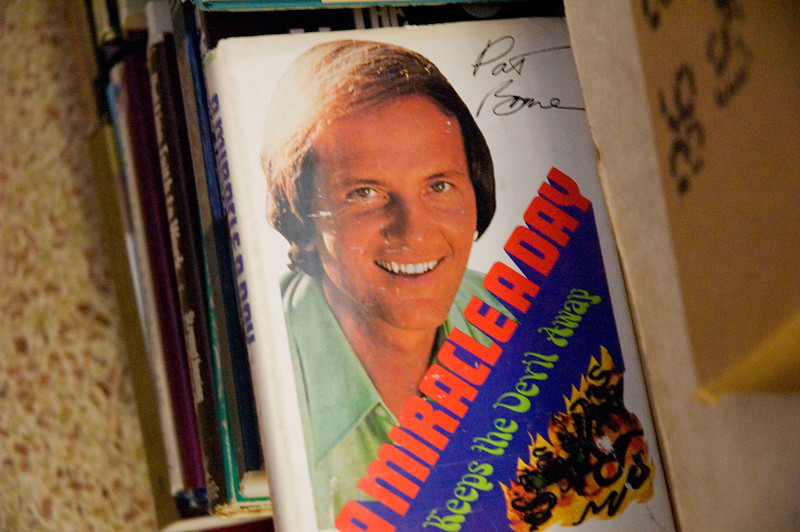 Autographed by Pat Boone!  Inside of On The Shelf, a used book store in the old downtown section of Melbourne, Florida.