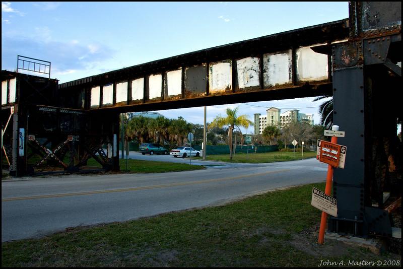 Train trestle over Melbourne Avenue in Melbourne, Florida.