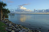Looking south from the foot of the pier at Rykman Park, Melbourne Beach, Florida.  Indian River Lagoon.
