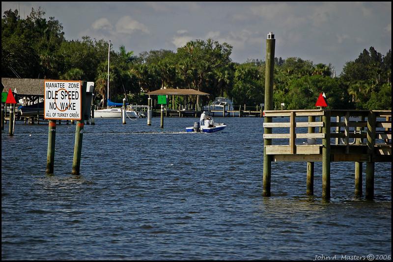 Boat enters Palm Bay.  Palm Bay, Florida.