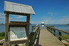 Indian River Lagoon information and viewing pier at public park in Sebastian, Florida.