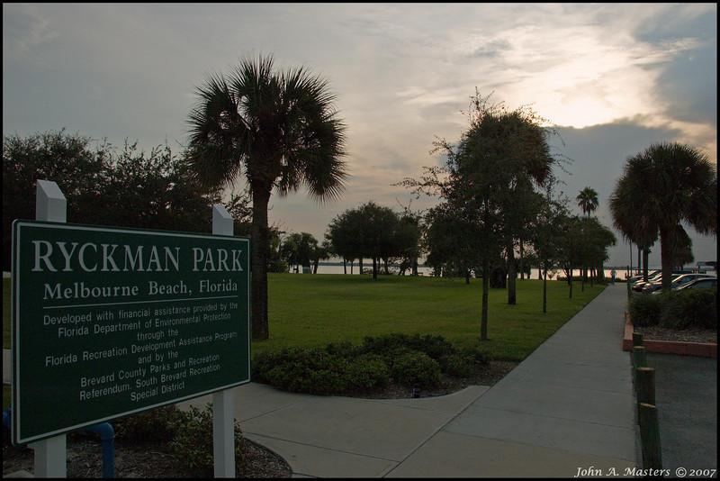 Evening sun and view of Rykman Park.  Melbourne Beach, Florida.