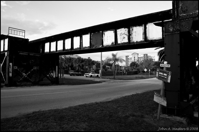 Train trestle over Melbourne Avenue in Melbourne, Florida.