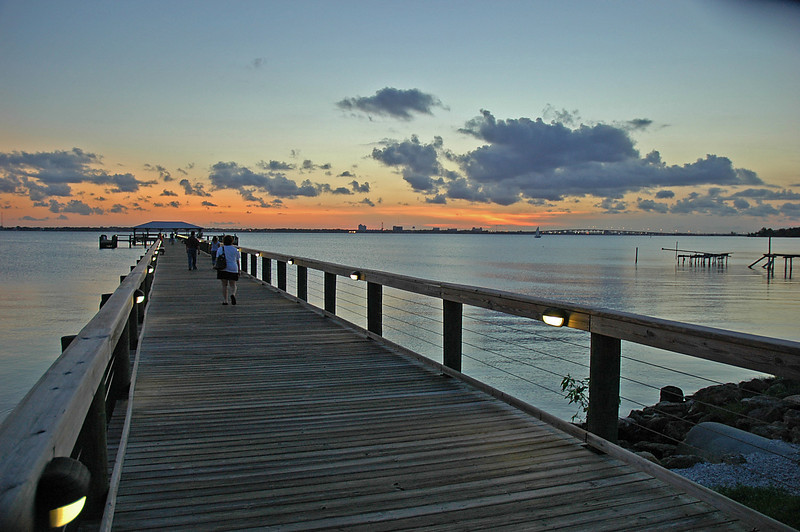 After sunset, from the pier at Rykman Park, Melbourne Beach, Florida.