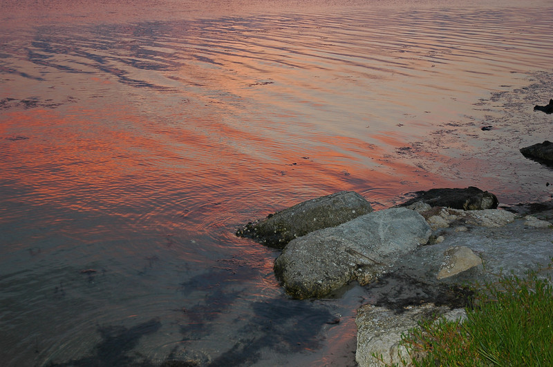 After sunset colors reflected in the Indian River Lagoon, about two miles south of Sebastian Inlet, in Indian River County.