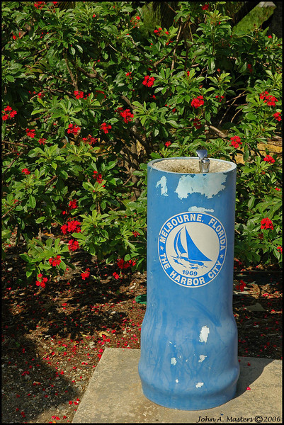 Public water fountain in Manatee Park along Crane Creek in Melbourne, Florida.