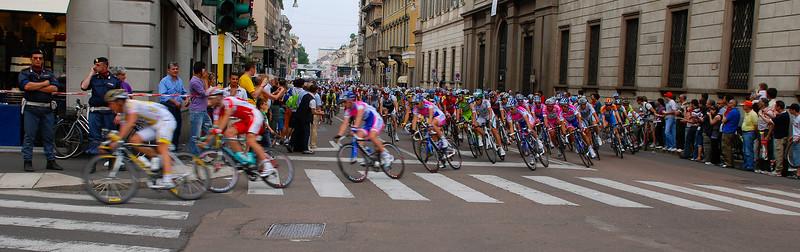 Racing through the streets of Milan