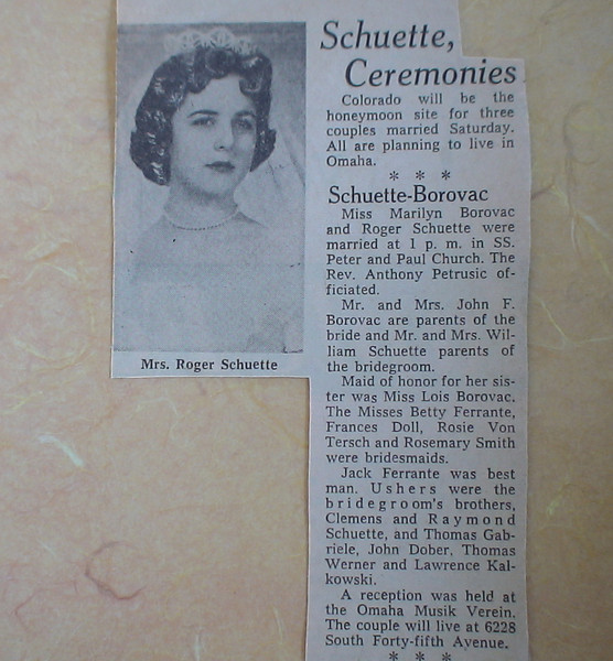 My brothers wedding announcement in the newspaper 50 years ago.