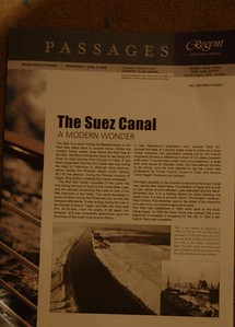We didn't go thru the Suez Canal as we chose to see the Pyramids instead.  We met up with the ship later in the day.