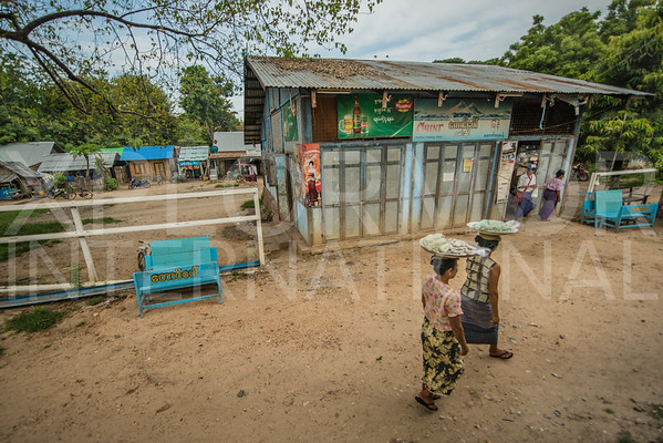Burmese Ladies Selling Snacks to Train Goers