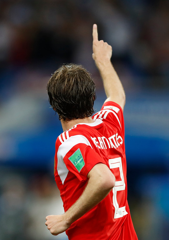 . Russia\'s Mario Fernandes celebrates after scoring his side\'s second goal during the quarterfinal match between Russia and Croatia at the 2018 soccer World Cup in the Fisht Stadium, in Sochi, Russia, Saturday, July 7, 2018. (AP Photo/Darko Bandic)