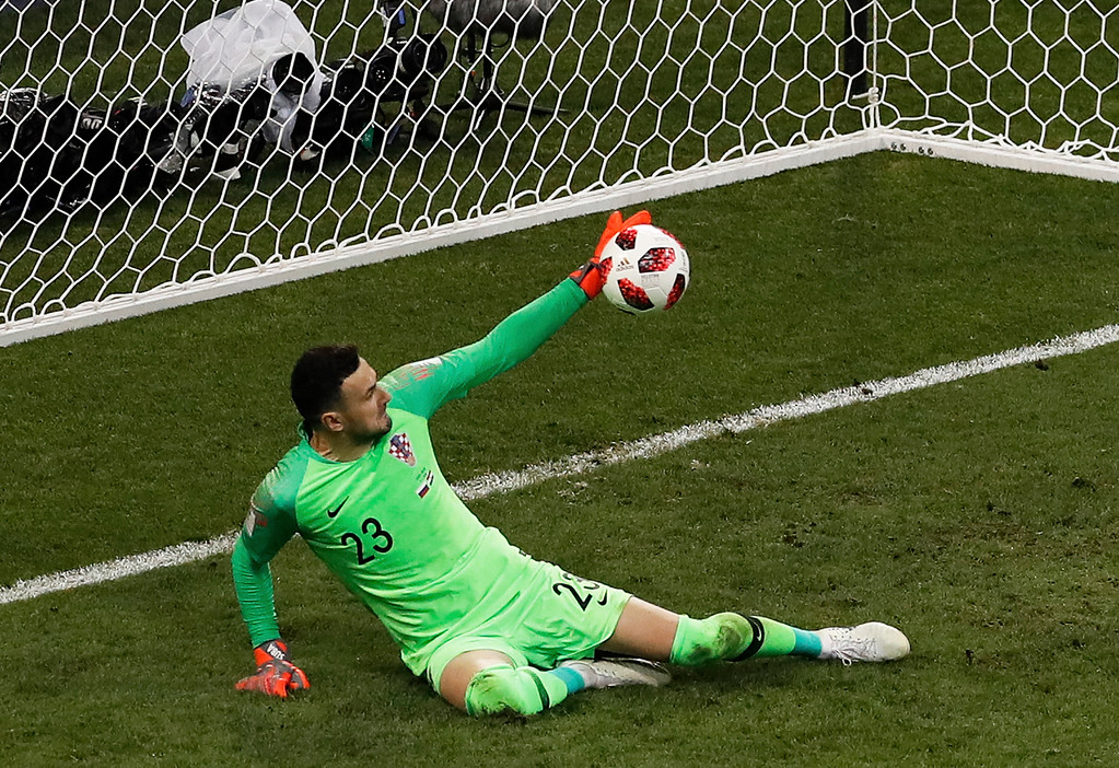 . Croatia goalkeeper Danijel Subasic stops a shot from Russia\'s Fyodor Smolov during a penalty shootout at the end of the quarterfinal match between Russia and Croatia at the 2018 soccer World Cup at the Fisht Stadium in Sochi, Russia, Saturday, July 7, 2018. (AP Photo/Alexander Zemlianichenko)