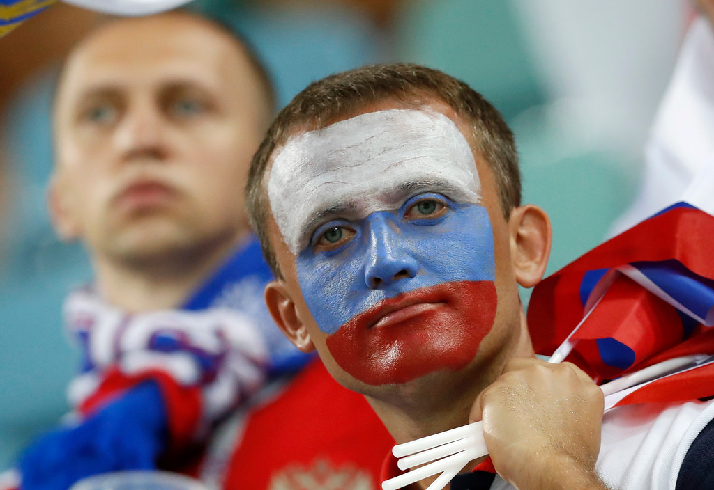 . Russia\'s fans react after Russia\'s loss in the quarterfinal match between Russia and Croatia at the 2018 soccer World Cup in the Fisht Stadium, in Sochi, Russia, Saturday, July 7, 2018. (AP Photo/Darko Bandic)