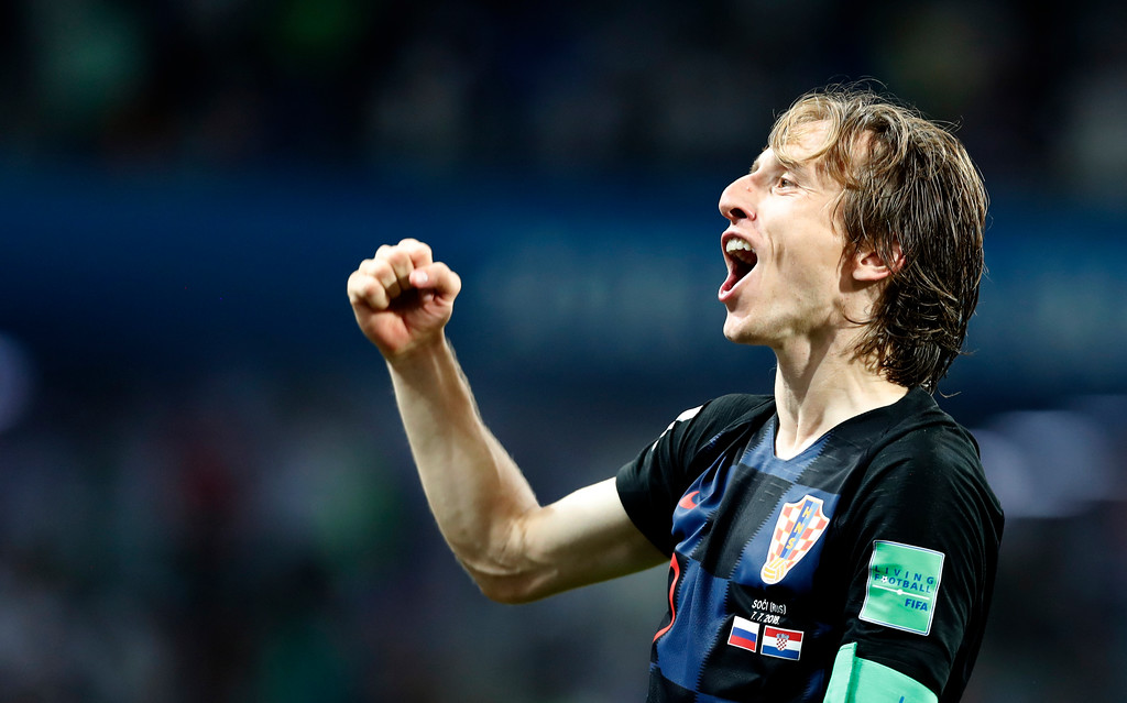 . Croatia\'s Luka Modric celebrates after winning the quarterfinal match between Russia and Croatia at the 2018 soccer World Cup in the Fisht Stadium, in Sochi, Russia, Saturday, July 7, 2018. (AP Photo/Rebecca Blackwell)