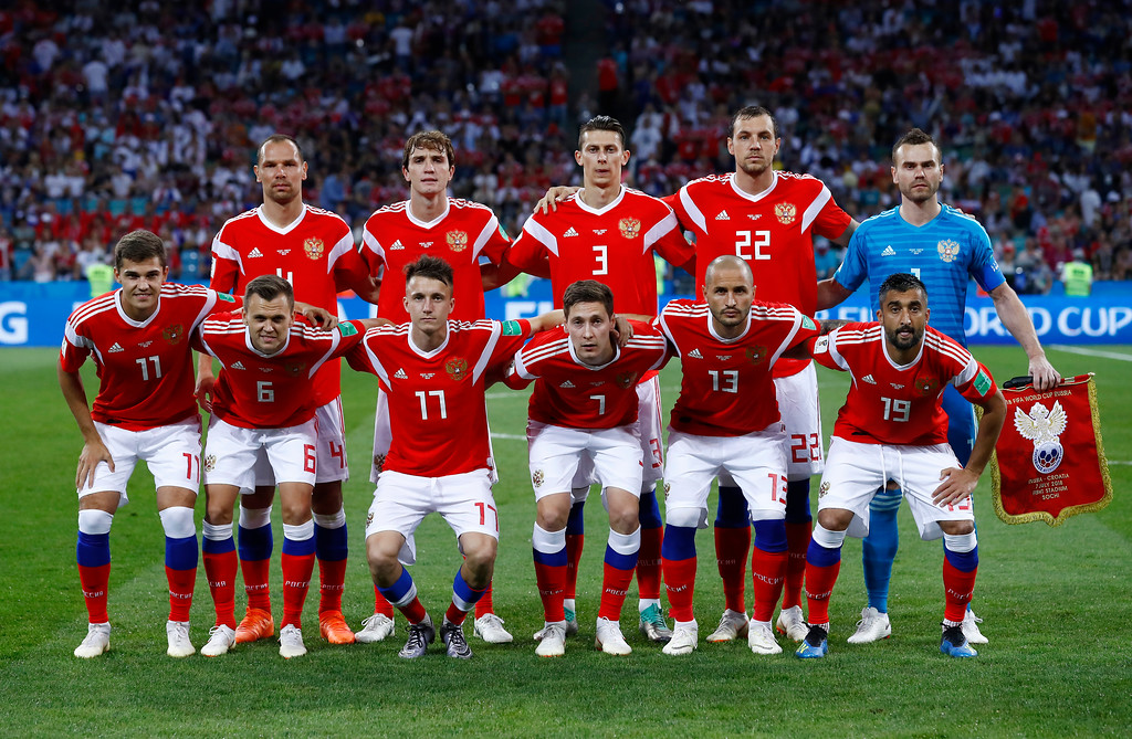 . Russia national soccer team players pose prior to the start of the quarterfinal match between Russia and Croatia at the 2018 soccer World Cup in the Fisht Stadium, in Sochi, Russia, Saturday, July 7, 2018. (AP Photo/Manu Fernandez)