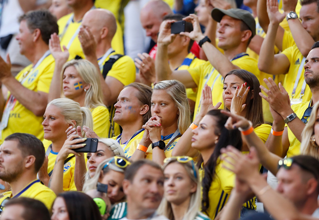 . Sweden fans react at the end of the quarterfinal match between Sweden and England at the 2018 soccer World Cup in the Samara Arena, in Samara, Russia, Saturday, July 7, 2018. England won 2-0. (AP Photo/Alastair Grant)