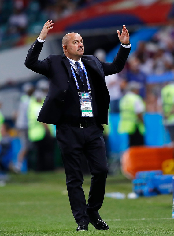 . Russia head coach Stanislav Cherchesov gestures during the quarterfinal match between Russia and Croatia at the 2018 soccer World Cup in the Fisht Stadium, in Sochi, Russia, Saturday, July 7, 2018. (AP Photo/Manu Fernandez)