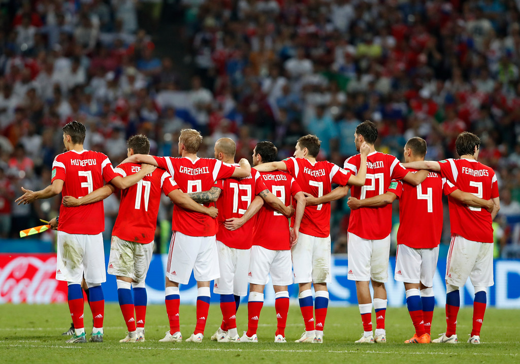 . Russia players react during the quarterfinal match between Russia and Croatia at the 2018 soccer World Cup in the Fisht Stadium, in Sochi, Russia, Saturday, July 7, 2018. (AP Photo/Rebecca Blackwell)