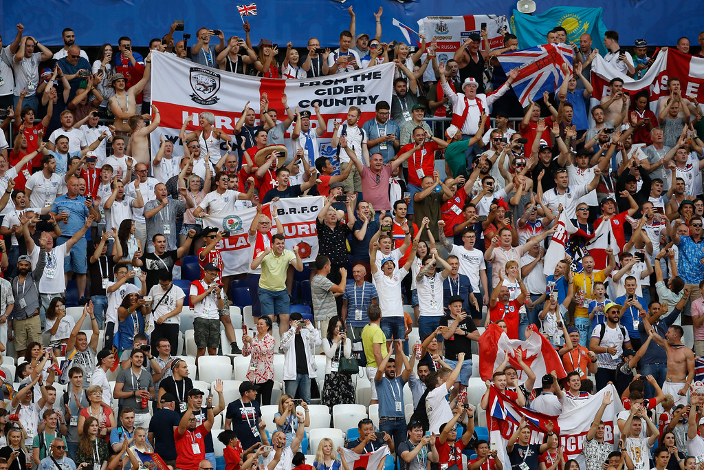 . English fans celebrate after their team won Sweden 0-2 the quarterfinal match between Sweden and England at the 2018 soccer World Cup in the Samara Arena, in Samara, Russia, Saturday, July 7, 2018. (AP Photo/Francisco Seco)