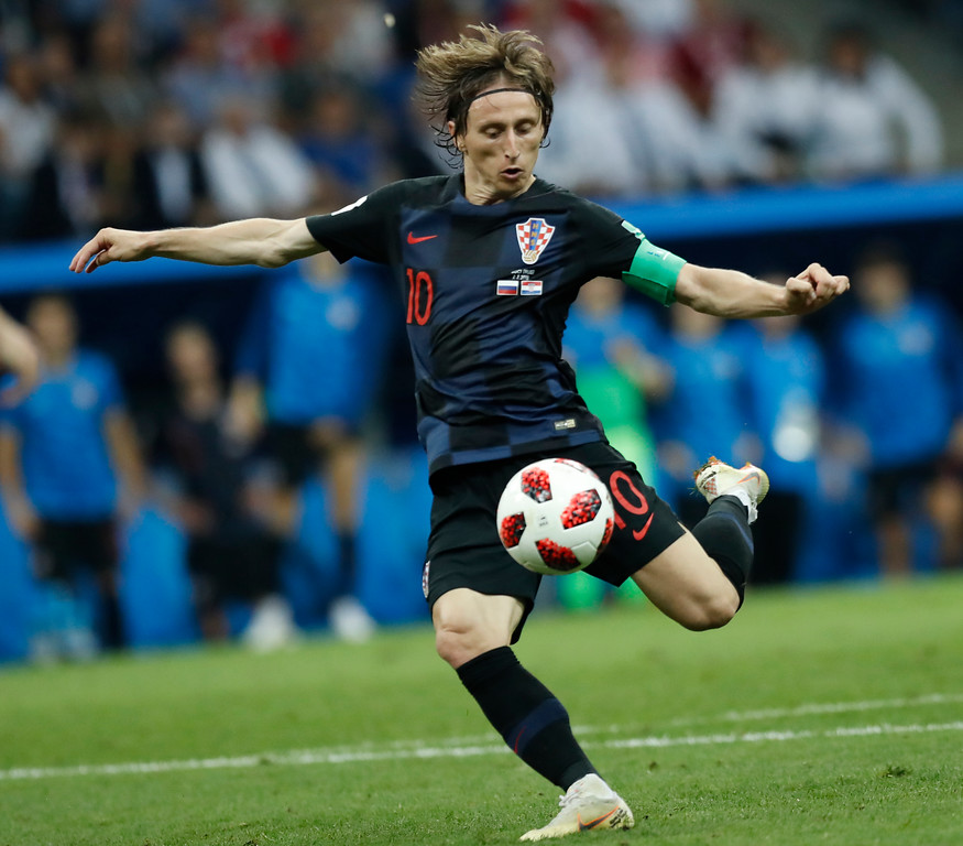 . Croatia\'s Luka Modric kicks the ball during the quarterfinal match between Russia and Croatia at the 2018 soccer World Cup in the Fisht Stadium, in Sochi, Russia, Saturday, July 7, 2018. (AP Photo/Pavel Golovkin)