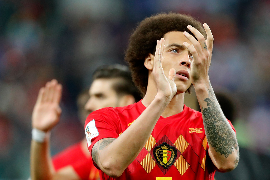 . Belgium\'s Axel Witsel applauds to supporters after the semifinal match between France and Belgium at the 2018 soccer World Cup in the St. Petersburg Stadium in, St. Petersburg, Russia, Tuesday, July 10, 2018. (AP Photo/Frank Augstein)