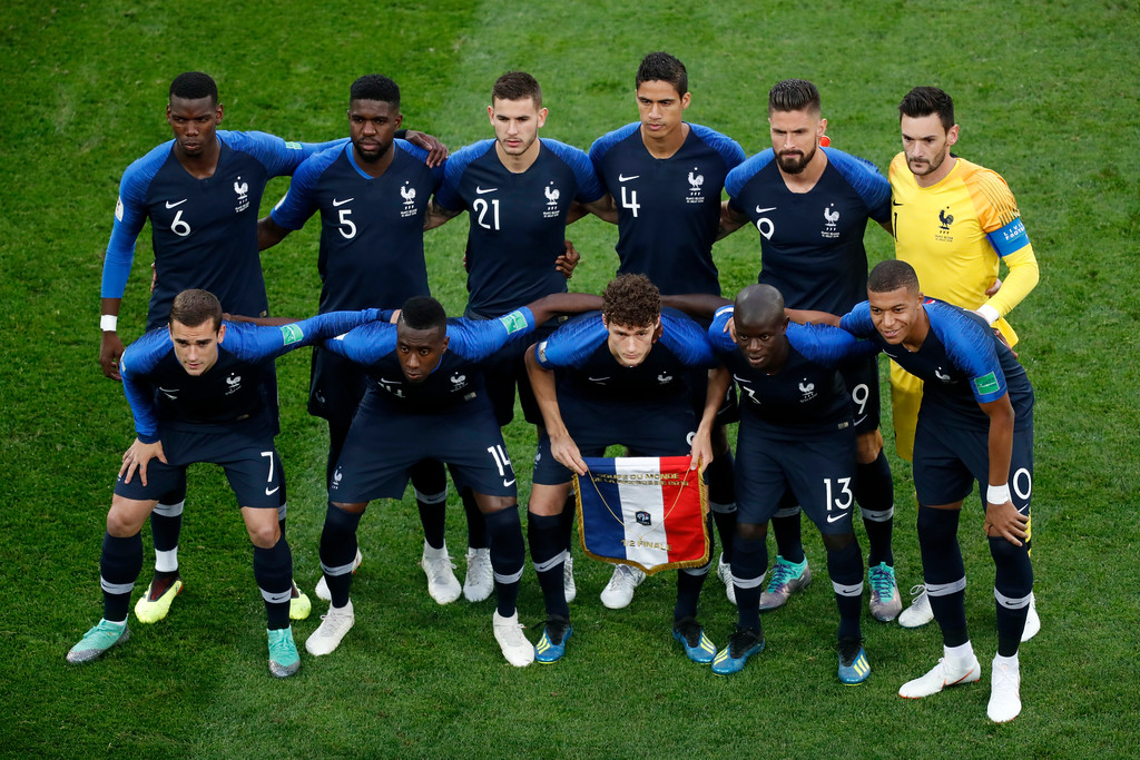 . France national team pose prior to the start of the semifinal match between France and Belgium at the 2018 soccer World Cup in the St. Petersburg Stadium in St. Petersburg, Russia, Tuesday, July 10, 2018. (AP Photo/Pavel Golovkin)