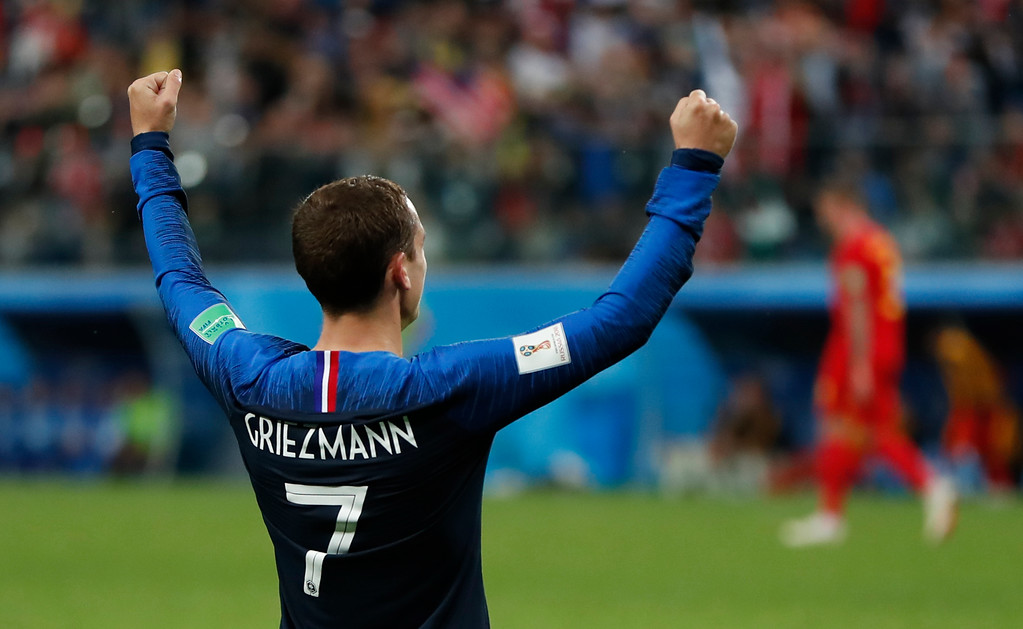 . France\'s Antoine Griezmann celebrates after France defeated Belgium in their semifinal match between France and Belgium at the 2018 soccer World Cup in the St. Petersburg Stadium in, St. Petersburg, Russia, Tuesday, July 10, 2018. France won the game 1-0. (AP Photo/Natacha Pisarenko)