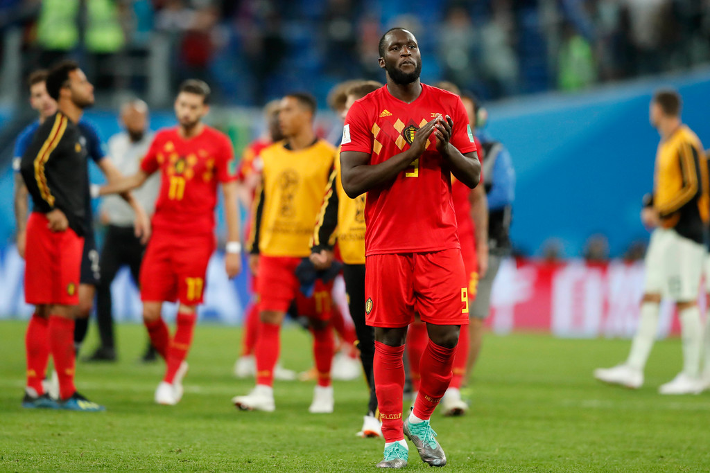 . Belgium\'s Romelu Lukaku applauds to supporters after the semifinal match between France and Belgium at the 2018 soccer World Cup in the St. Petersburg Stadium in, St. Petersburg, Russia, Tuesday, July 10, 2018. (AP Photo/Frank Augstein)