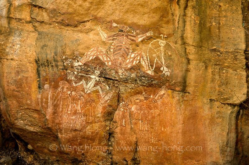 Aboriginal rock painting - rainbow serpent, at Nourlangie in Kakadu National Park, Northern Territory.