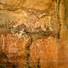 Aboriginal rock painting - rainbow serpent, at Nourlangie in Kakadu National Park, Northern Territory.