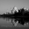 Taj Mahal shortly before sunset over Yamuna River.