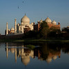 Taj Mahal shortly before sunset, over Yamuna River