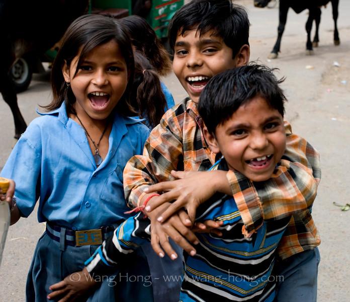 Kids on street in Agra, just outside Taj Mahal
