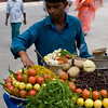 Fruit vendor on street leading to Taj Mahal, Agra.