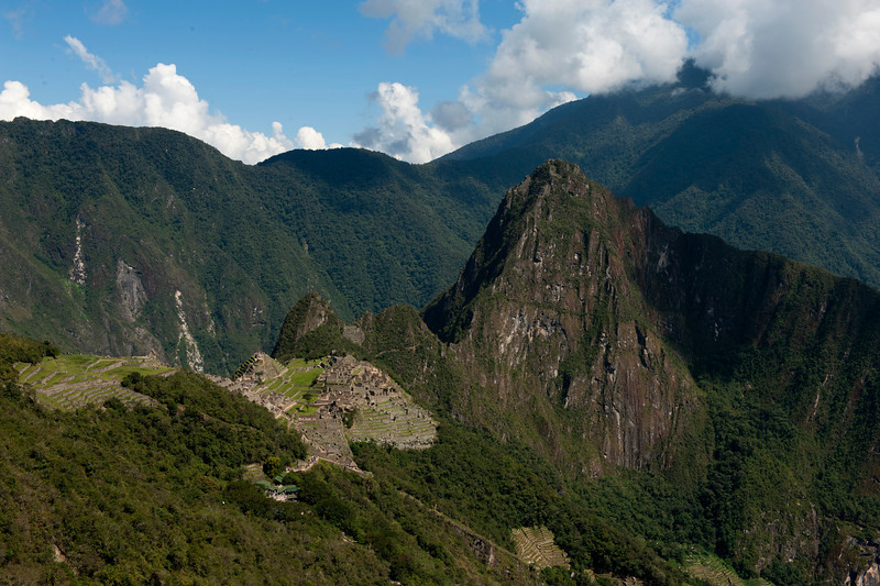Full view of Machu Picchu from Sun Gate, at the end of Inca Trail.