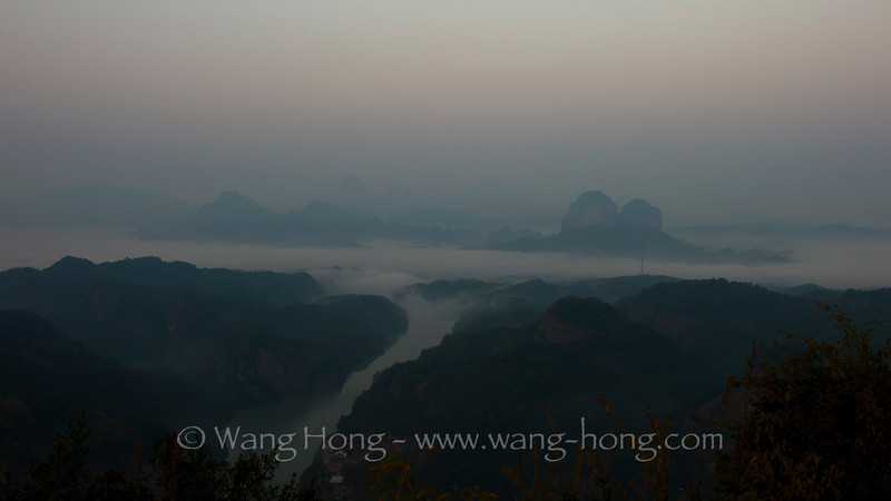 Danxia landscape in morning fog, Guangdong, China