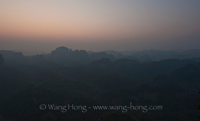 Waiting for the sunrise at Danxia Shan, Guangdong Province, China