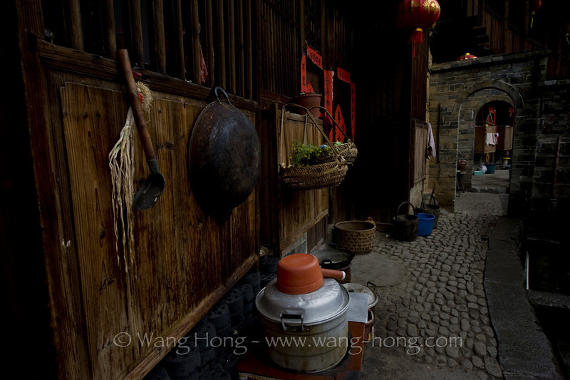 Simple kitchen in Chengqi Lou, Yongding County