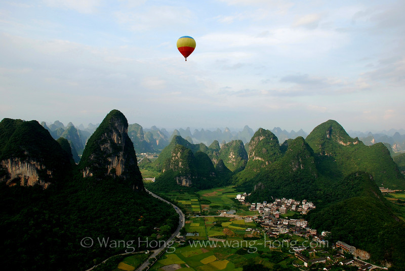 Karst landscape in Guangxi from hot air balloon.