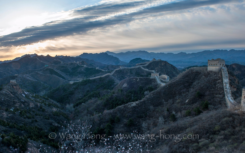 Jinshanling section of the Great Wall in China's Hebei Province at sunrise on April 2, 2016.