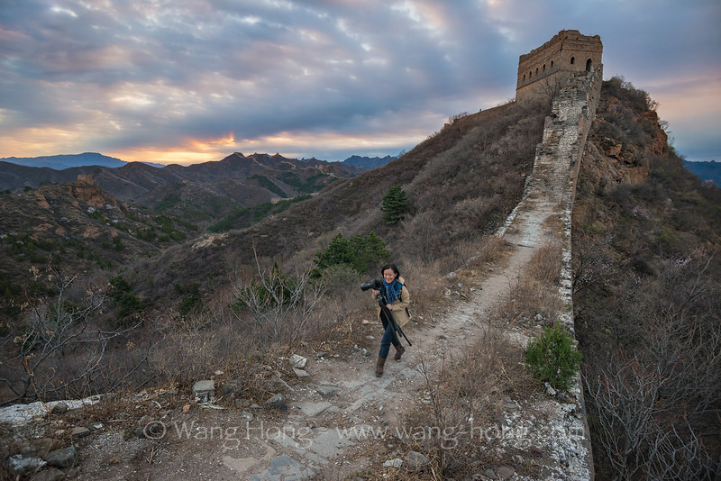 The photographer on the Great Wall at sunrise, April 2, 2016.