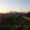 Jinshanling to Gubeikou sections of the Great Wall in China's Hebei Province at sunset on a late spring day, 2013.