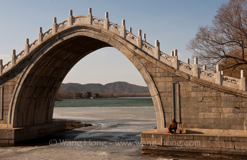 Fishing over the icy lake, Summer Palace, Beijing 颐和园冰湖垂钓
