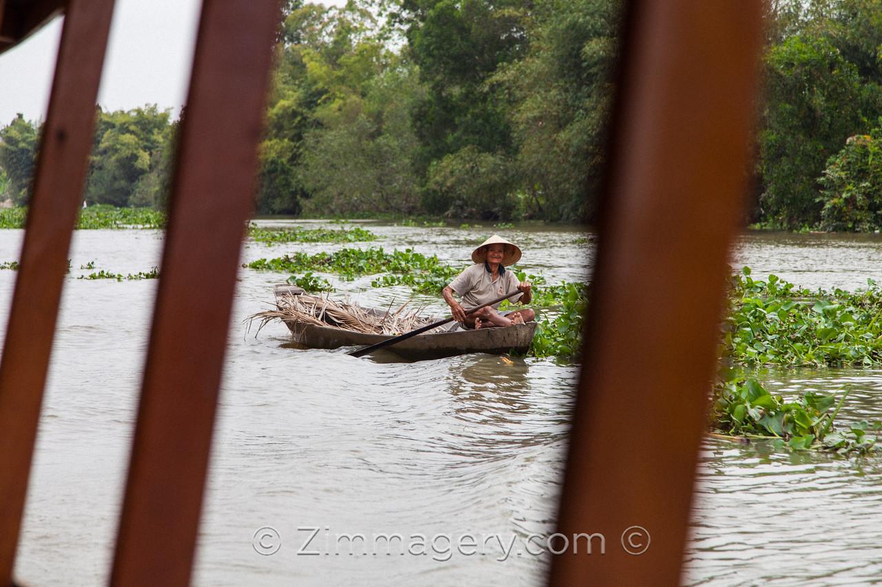 Happy Man in Boat, Mekong Delta, Vietnam