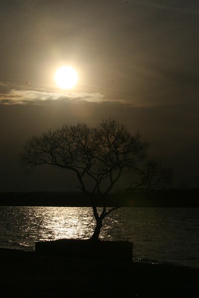 Sunset over the tree at Lake Ogawaraka , Misawa base beach