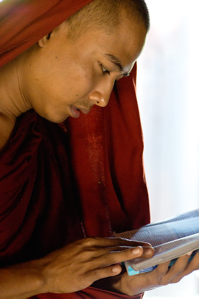 MONK READING LONELY PLANET