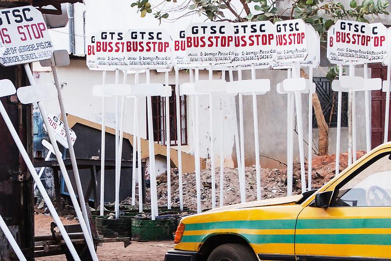 BAKAU 2014-01-06<br /> Bus stop signs in the Gambia<br /> Photo Maria Langen / Sverredal & Langen AB