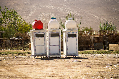 """Iraq Kurdistan 20130915  Toilets in a refugee camp close to the village of Basrma in Kurdistan. As many as 5000 Syrians refugees could be staying in this """"new"""" camp, waiting for the surrounding world to support them in where to go next. Photo Maria Langen / Sverredal & Langen AB"""