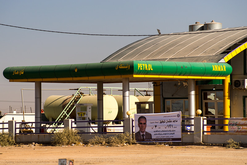 Iraq Erbil 20130913 Gas station. Campaign the days before the election. The Kurdistan's oil and gas industry is playing a key role in the Iraq / Kurdistan economy. Not only business is growing, there are also construction work, new building and sites in the Erbil area. Photo Maria Langen / Sverredal & Langen AB